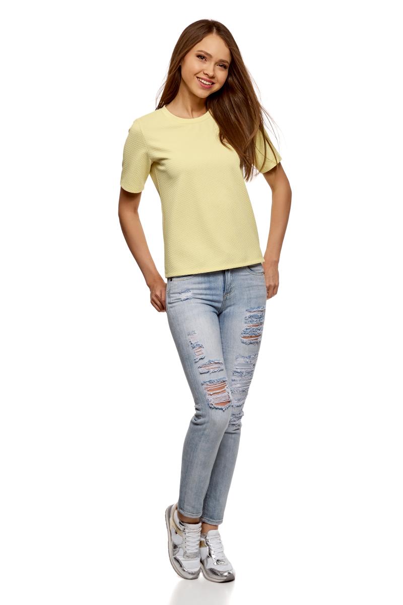 Футболка женская oodji Ultra, цвет: светло-желтый. 14701043-1B/45211/5000N. Размер M (46)14701043-1B/45211/5000NФактурная футболка от oodji выполнена из эластичного полиэстера. Модель с короткими рукавами и круглым вырезом горловины.