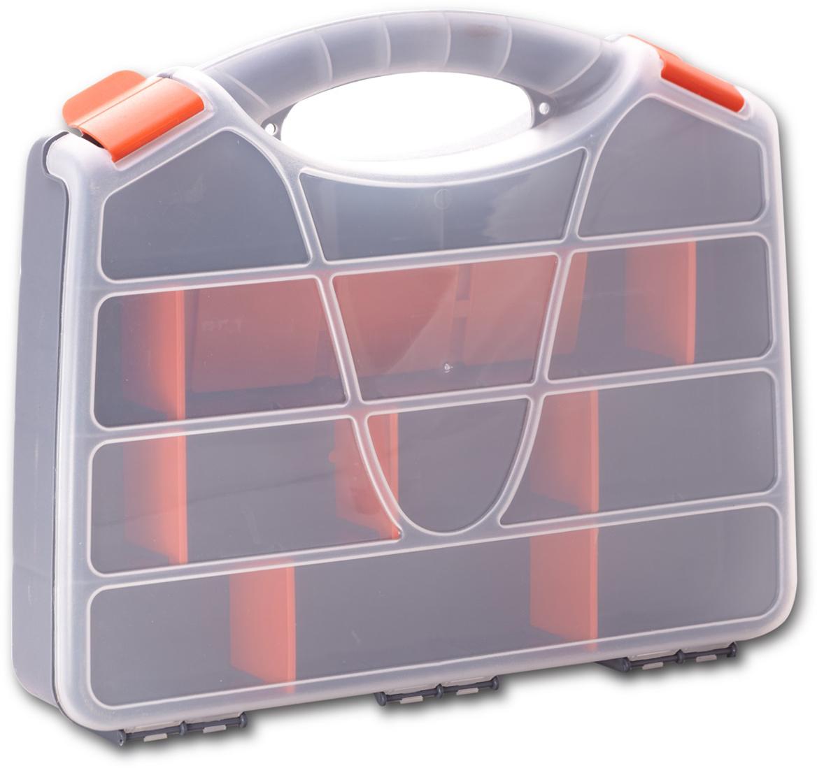Органайзер для хранения Blocker Profi, цвет: серо-свинцовый, оранжевый, 44,7 х 35,5 х 7,5 смBR3724СРСВИНЦОРУдобный для переноски и хранения органайзер. Прозрачная крышка, небольшой размер и продуманная эргономика делают хранение любых мелочей простым и эффективным. Надежные замки предохраняют от случайного открытия, набор съемных разделителей позволяет организовать пространство в соответствии с Вашими пожеланиями.