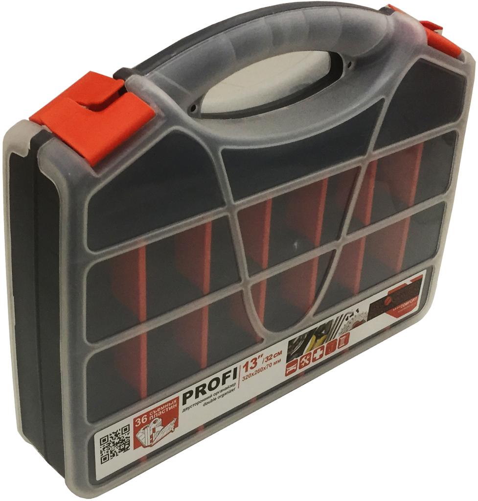 Органайзер для хранения Blocker Profi, двухсторонний, цвет: серо-свинцовый, 32 х 26 х 0,7 смBR3775СРСВИНЦДвухсторонний органайзер Profi выполнен в форме кейса, служит для хранения и переноски крепежа и мелких деталей. Прозрачная крышка, небольшой размер и продуманная эргономика делают хранение любых мелочей простым и эффективным. Надежные замки-защелки предохраняют от непреднамеренного открытия. Набор съемных разделителей позволяет организовать пространство, количество и размер ячеек в соответствии с Вашими пожеланиями.