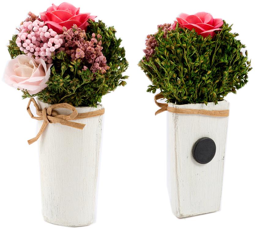 Композиция цветочная, 9 x 7 x 15 см, цвет: розовый79048Цветочная композиция NoName - это прекрасная возможность украсить, оживить любой интерьер.