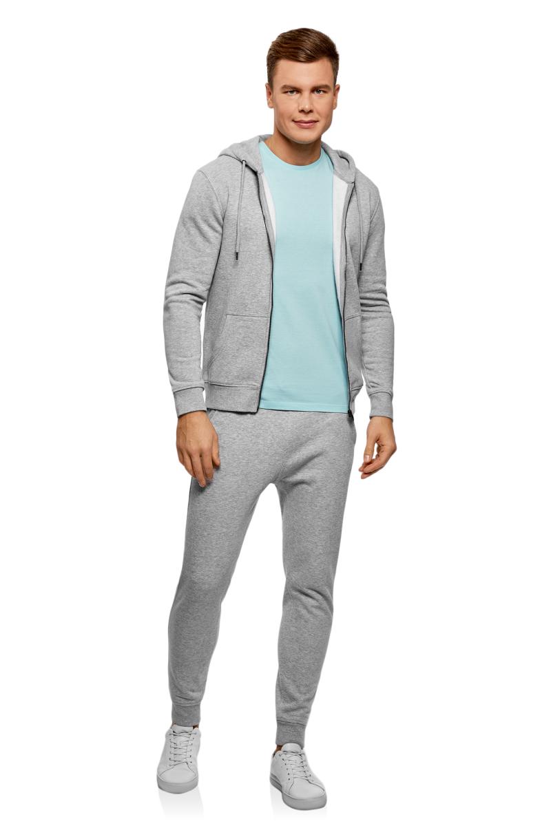 Брюки спортивные мужские oodji Basic, цвет: серый меланж. 5B200004M-2/47982N/2300M. Размер XS (44)