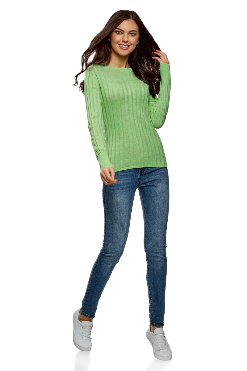 Джемпер женский oodji Collection, цвет: светло-зеленый меланж. 73812650-1B/47536/6000M. Размер XS (42) джемпер женский oodji collection цвет бежевый меланж 73812624 1b 46139 3300m размер xs 42