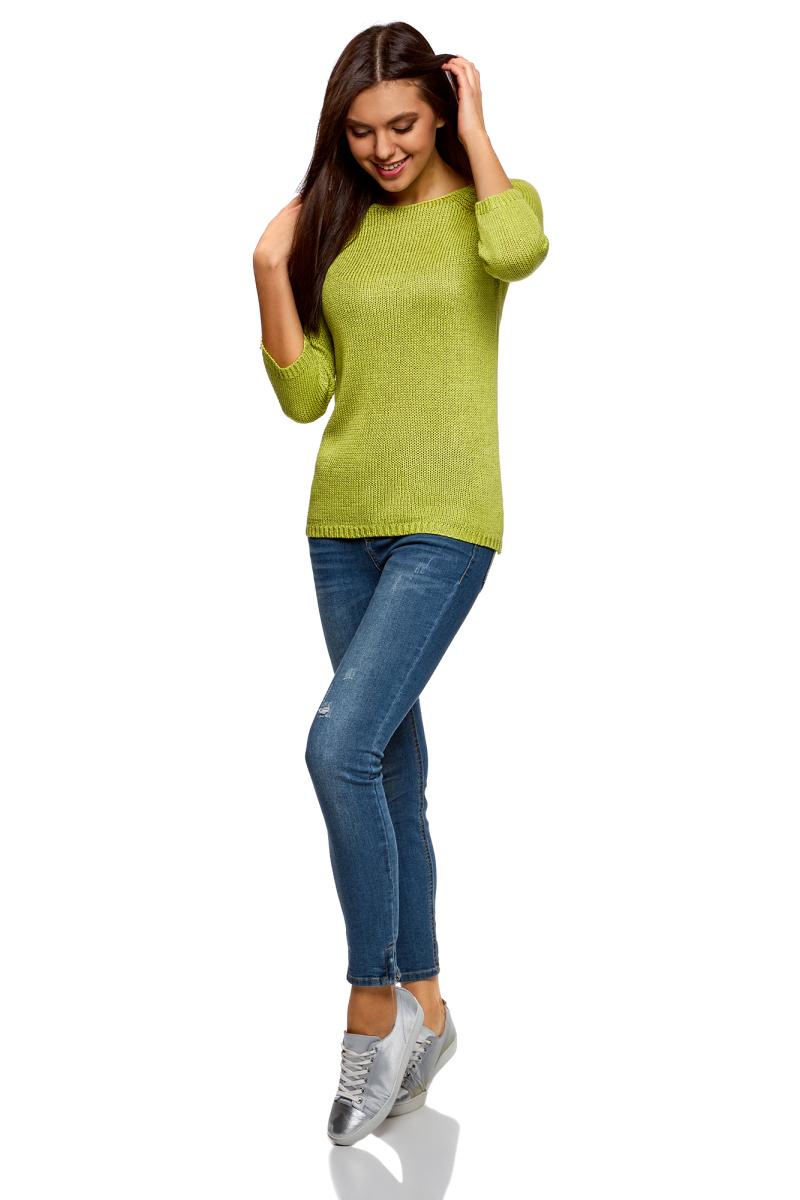 Джемпер женский oodji Ultra, цвет: желто-зеленый. 63803046-4B/38189/6700N. Размер XL (50)63803046-4B/38189/6700NБазовый джемпер от oodji выполнен из акриловой пряжи. Модель с рукавами-реглан 3/4 и круглым вырезом горловины.