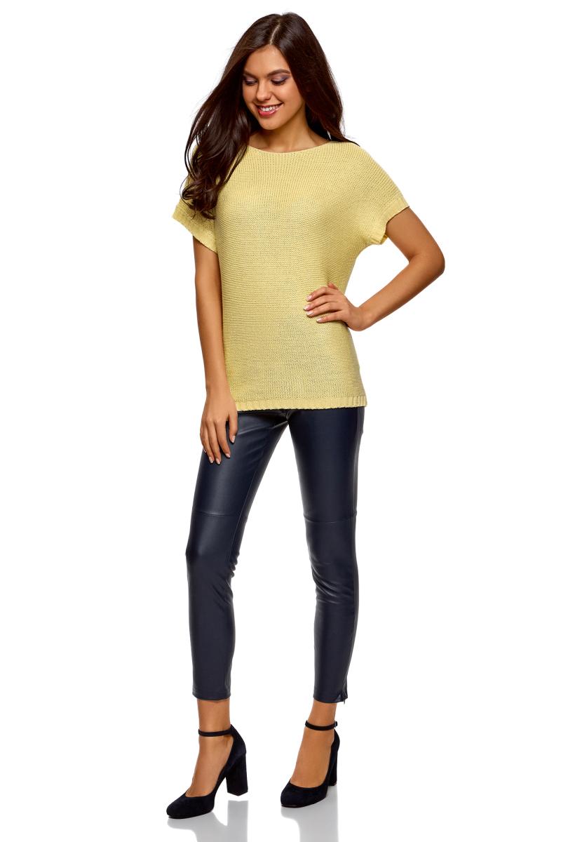Джемпер женский oodji Ultra, цвет: светло-желтый. 63805316B/38189/5000N. Размер M (46) джемпер женский oodji ultra цвет белый 63807310 18941 1200n размер m 46