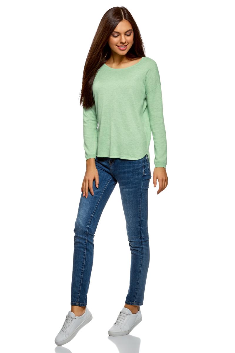 Джемпер женский oodji Ultra, цвет: светло-зеленый меланж. 63812580B/45494/6000M. Размер S (44)63812580B/45494/6000MДжемпер свободного силуэта с вырезом горловины лодочка и длинными рукавами выполнен из вискозного материала. Имеет удлиненную спинку.