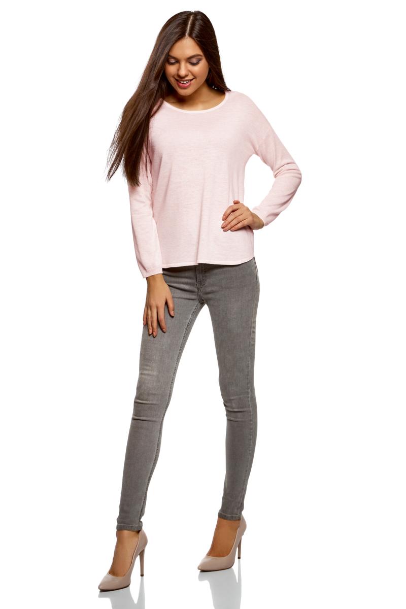 Джемпер женский oodji Ultra, цвет: светло-розовый меланж. 63812580B/45494/4000M. Размер S (44) джемпер женский vero moda цвет розовый 10189425 misty rose размер s 42
