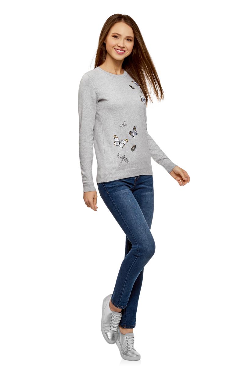 Джемпер женский oodji Ultra, цвет: серый меланж. 63812639/48211/2300M. Размер S (44)