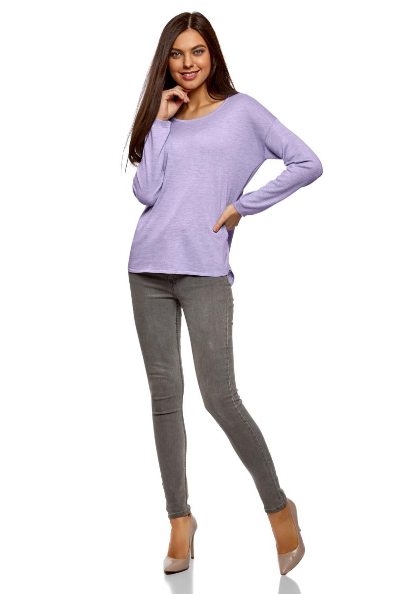 Джемпер женский oodji Ultra, цвет: сиреневый меланж. 63812580B/45494/8000M. Размер S (44)63812580B/45494/8000MДжемпер свободного силуэта с вырезом горловины лодочка и длинными рукавами выполнен из вискозного материала. Имеет удлиненную спинку.