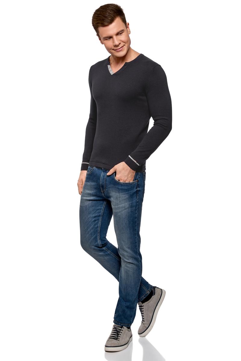 Пуловер мужской oodji Lab, цвет: темно-синий. 4L212149M/21655N/7900N. Размер S (46/48) кардиган мужской oodji lab цвет темно синий 4l612128m 21654n 7900n размер xl 56