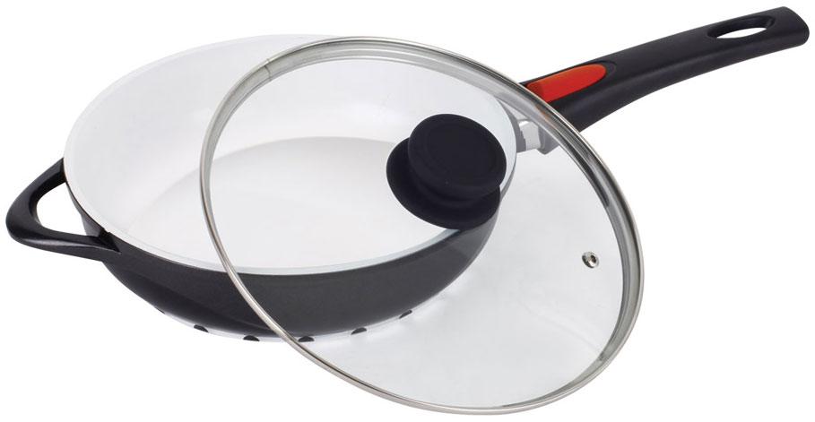 Сковорода Barton Steel, с крышкой, с антипригарным покрытием. Диаметр 24 смск3126Сковорода Barton Steel изготовлена из алюминия, внутри с антипригарным керамическим белым покрытием. Стеклянная крышка с пароотводом. Съемная бакелитовая ручка.Можно мыть в посудомоечной машине. Подходит для индукционных плит.Размер: 24 х 6,5 см.Объем: 2,5 л.