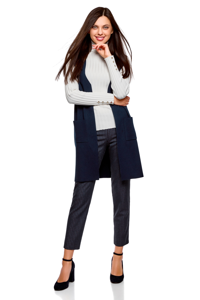 Жилет женский oodji Ultra, цвет: темно-синий. 64512026/33506/7900N. Размер L (48) пуловеры oodji пуловер