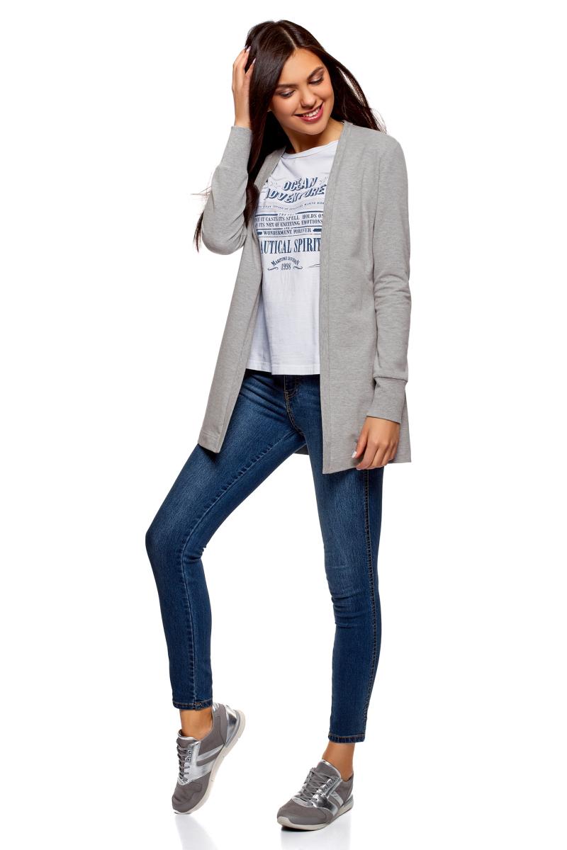 Кардиган женский oodji Ultra, цвет: серый меланж. 19201004B/48033/2300M. Размер S (44)19201004B/48033/2300MТрикотажный кардиган от oodji выполнен из эластичного хлопка. Модель с длинными рукавами не имеет застежки.