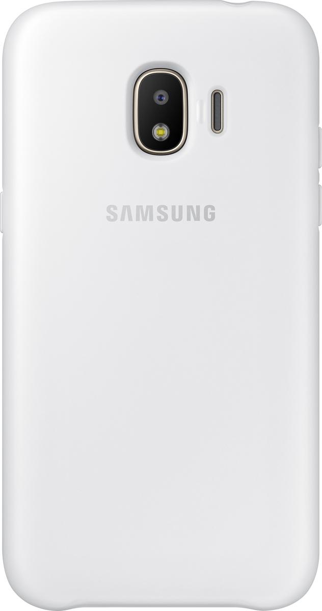 Samsung Dual Layer Cover чехол для Galaxy J2 (2018), WhiteEF-PJ250CWEGRUЧехол Samsung Dual Layer Cover изготовлен из эластичного полиуретана. Он защищает смартфон от воды, пыли и грязи, а также поглощает ударные нагрузки, предотвращая повреждение чувствительной электроники.Аксессуар слегка выступает над поверхностью дисплея, не допуская его соприкосновения с твёрдыми предметами. Благодаря этому экран всегда остаётся гладким и чистым, сохраняя отличную видимость изображения.Пользователь в любой момент может сделать снимок, подзарядить аккумулятор или совершить звонок. В поверхности чехла предусмотрены специальные вырезы для камеры, кнопок и других функциональных элементов.