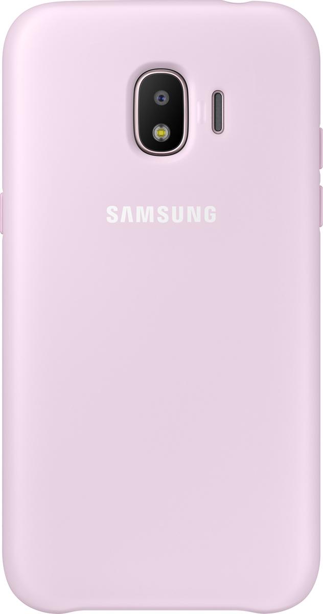Samsung Dual Layer Cover чехол для Galaxy J2 (2018), PinkEF-PJ250CPEGRUЧехол Samsung Dual Layer Cover изготовлен из эластичного полиуретана. Он защищает смартфон от воды, пыли и грязи, а также поглощает ударные нагрузки, предотвращая повреждение чувствительной электроники.Аксессуар слегка выступает над поверхностью дисплея, не допуская его соприкосновения с твёрдыми предметами. Благодаря этому экран всегда остаётся гладким и чистым, сохраняя отличную видимость изображения.Пользователь в любой момент может сделать снимок, подзарядить аккумулятор или совершить звонок. В поверхности чехла предусмотрены специальные вырезы для камеры, кнопок и других функциональных элементов.