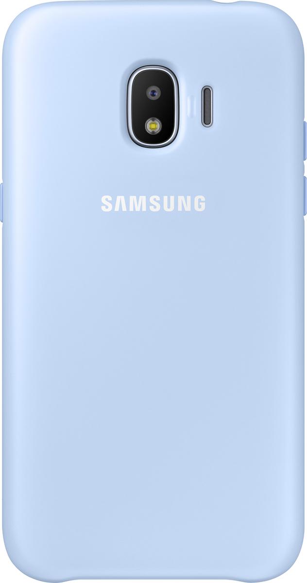 Samsung Dual Layer Cover чехол для Galaxy J2 (2018), BlueEF-PJ250CLEGRUЧехол Samsung Dual Layer Cover изготовлен из эластичного полиуретана. Он защищает смартфон от воды, пыли и грязи, а также поглощает ударные нагрузки, предотвращая повреждение чувствительной электроники.Аксессуар слегка выступает над поверхностью дисплея, не допуская его соприкосновения с твёрдыми предметами. Благодаря этому экран всегда остаётся гладким и чистым, сохраняя отличную видимость изображения.Пользователь в любой момент может сделать снимок, подзарядить аккумулятор или совершить звонок. В поверхности чехла предусмотрены специальные вырезы для камеры, кнопок и других функциональных элементов.