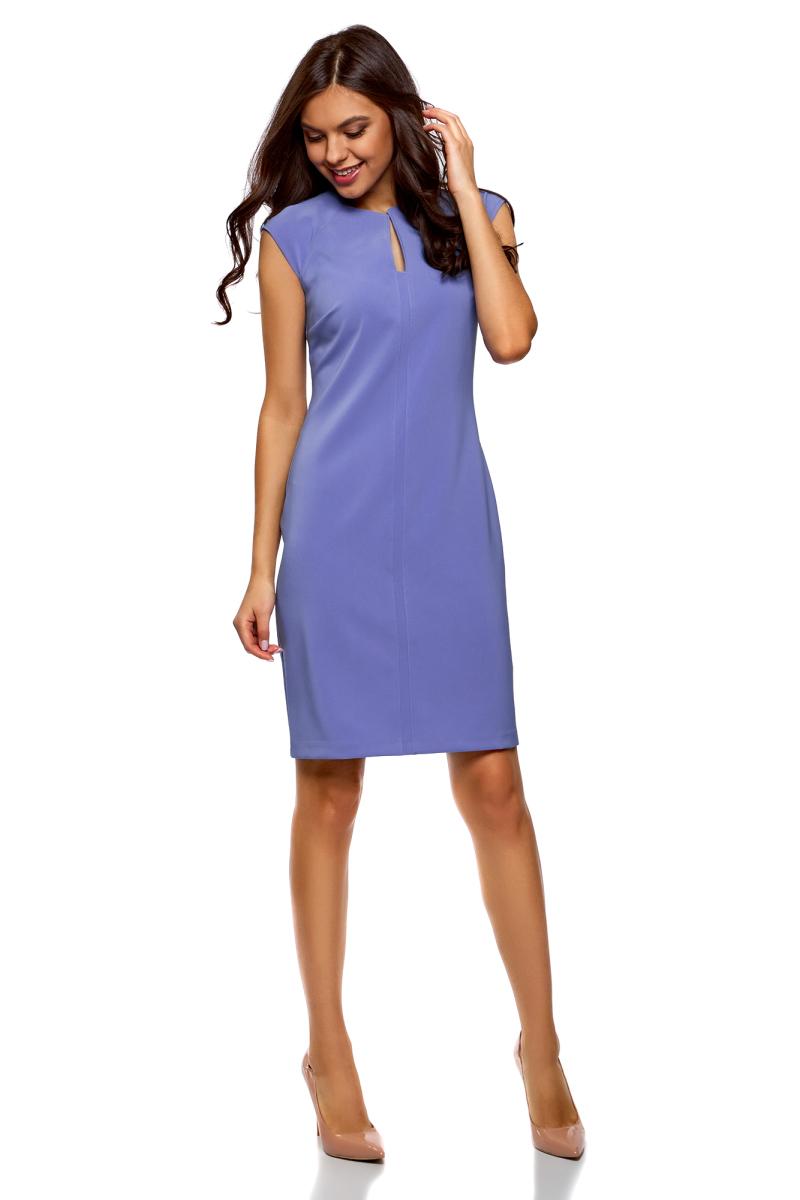 Платье oodji Collection, цвет: синий. 22C12001B/42250/7500N. Размер 36-170 (42-170)22C12001B/42250/7500NПлатье-футляр от oodji выполнено из эластичного полиэстера. Модель облегающего кроя с короткими рукавами-реглан и фигурным вырезом горловины на спине застегивается на потайную молнию.