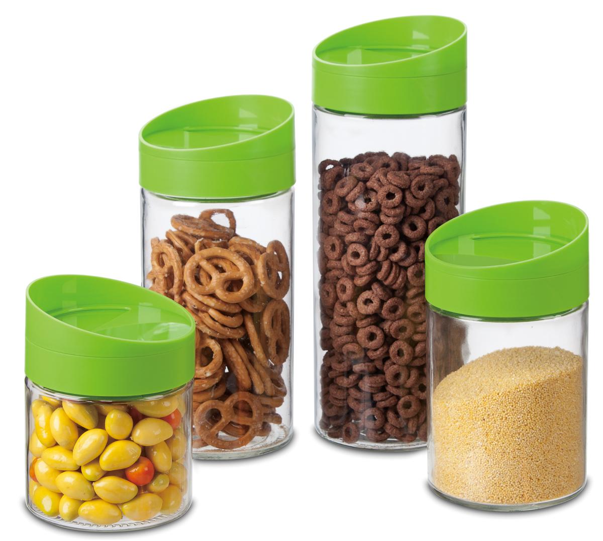Набор банок для хранения SinoGlass, 4 шт. 97984000A97984000AВ комплекте 4 банки для хранения, объем 2200 мл, 1700 мл, 1250 мл, 850 мл. Материал: стекло, пластик.