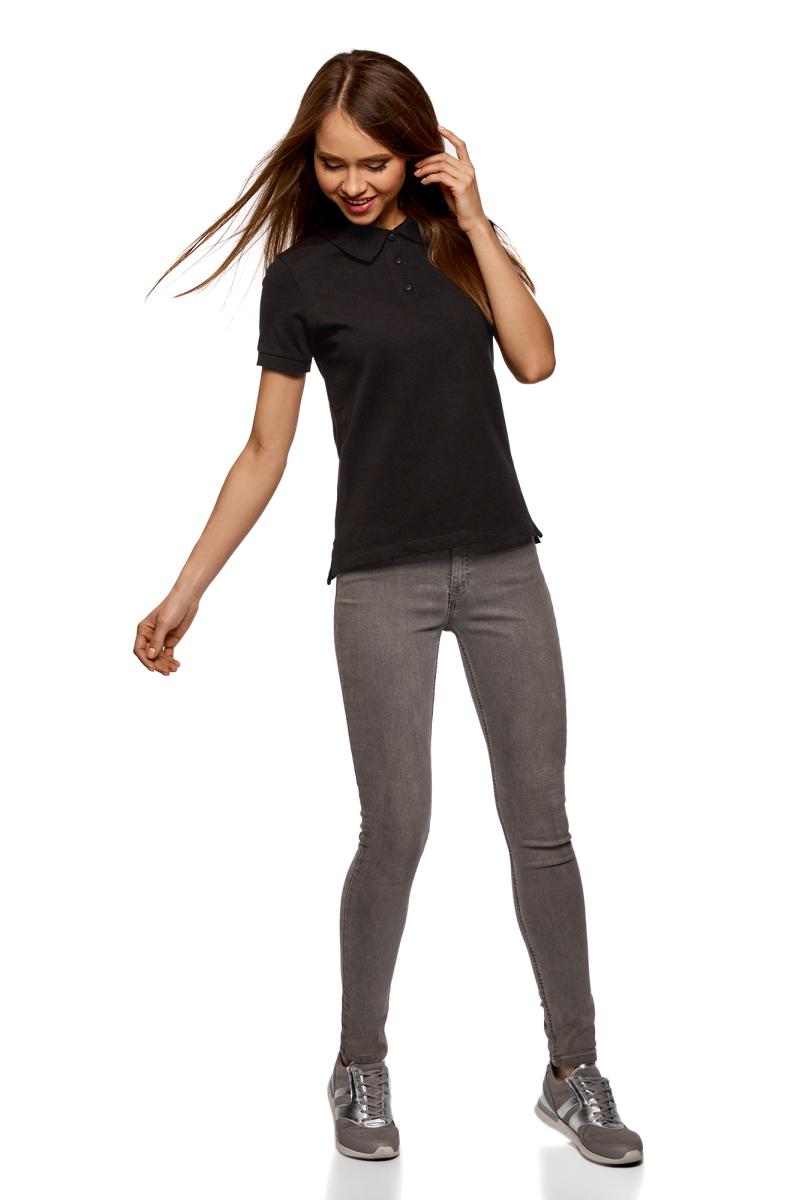Поло женское oodji Ultra, цвет: черный. 19301010B/46161/2900N. Размер XXS (40) oodji 5b710002m 44260n 2900n