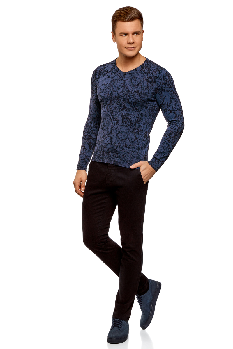 Пуловер мужской oodji Lab, цвет: синий, темно-. 4L212159M/21702N/7579E. Размер XL (56)