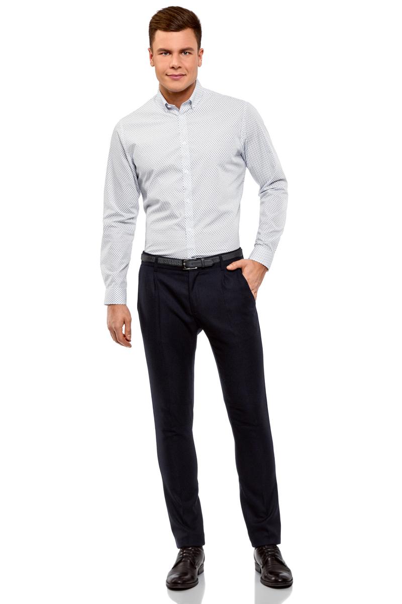 Рубашка мужская oodji Lab, цвет: белый, синий. 3L110298M/44425N/1075G. Размер 42-182 (52-182)3L110298M/44425N/1075GРубашка от oodji выполнена из натурального хлопка в мелкую графику. Модель приталенного кроя с длинными рукавами и отложным воротником застегивается на пуговицы.