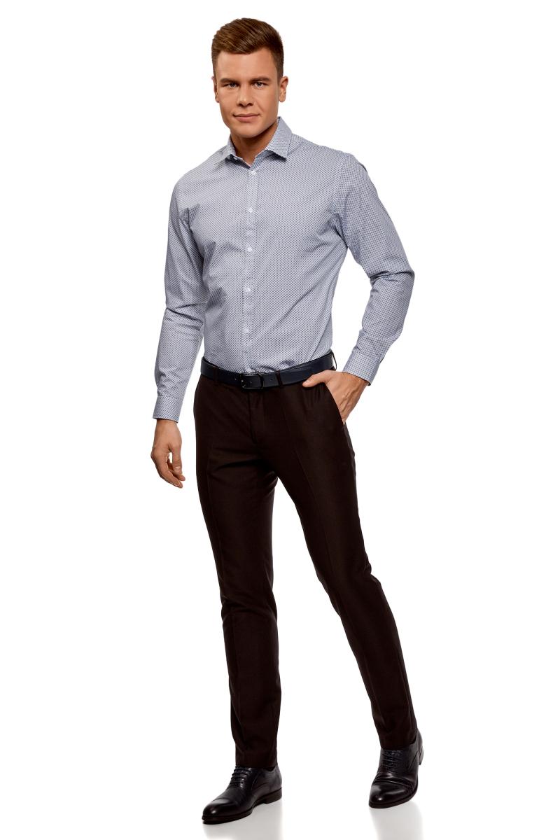 Рубашка мужская oodji Lab, цвет: белый, темно-синий. 3L110300M/19370N/1079G. Размер 42-182 (52-182)3L110300M/19370N/1079GРубашка от oodji выполнена из натурального хлопка в мелкую графику. Модель приталенного кроя с длинными рукавами и отложным воротником застегивается на пуговицы.