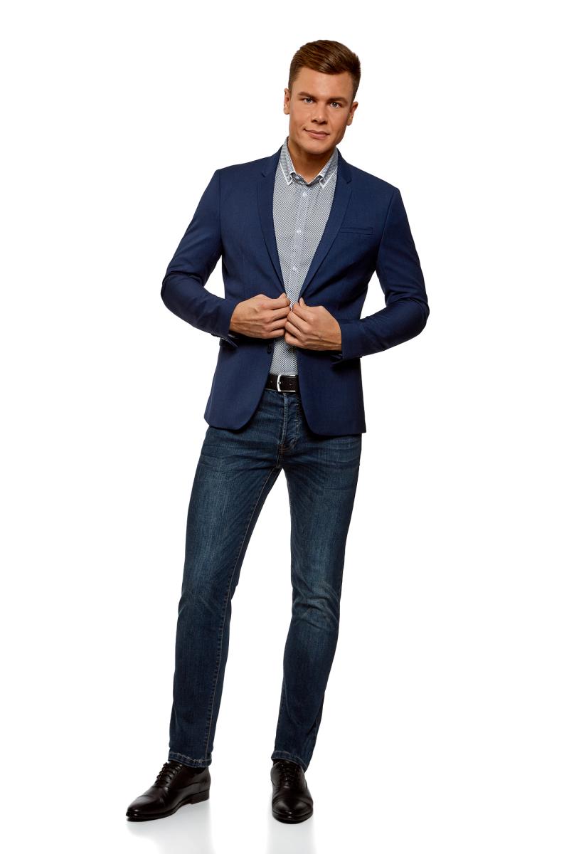 цены Рубашка мужская oodji Lab, цвет: темно-синий, белый. 3L110299M/19370N/7910G. Размер 42-182 (52-182)