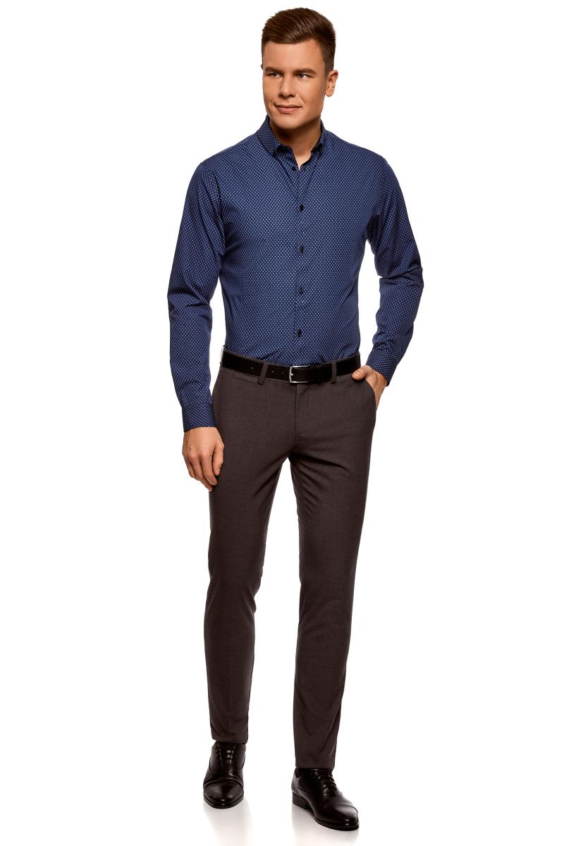 Купить Рубашка мужская oodji Lab, цвет: темно-синий, синий. 3L110298M/44425N/7975G. Размер 40-182 (48-182)
