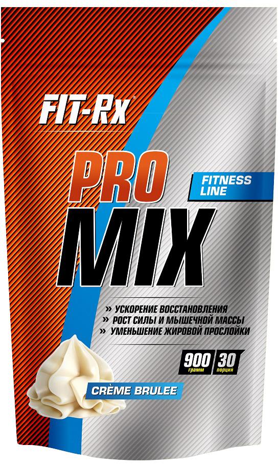 Протеин FIT-RX Pro Mix, крем-брюле, 900 г00814FIT-RX Pro Mix – это многокомпонентный протеиновый продукт, объединяющий в себе преимущества быстрых и медленных протеинов. После приема продукта концентрация аминокислот в крови лавинообразно возрастает, однако сохраняется на достаточно высоком уровне продолжительное время. Благодаря этому происходит не только повышение синтеза белка в мышцах, но и уменьшается его распад в период нехватки энергии в рационе. Низкое количество усвояемых углеводов в продукте – всего 3% или менее 1 грамма на порцию вкупе с высоким содержанием пищевых волокон, делает продукт идеальным для использования в период следования низкоуглеводной диеты или предсоревновательной подготовки. Продукт создает ощущение сытости и отлично подавляет аппетит. Сочетание сывороточного протеина с растительными белками позволяет получить оптимальный аминокислотный профиль без дефицита каких-либо аминокислот.Состав: сывороточный белок, изолят белка желтого гороха, изолят соевого белка, какао-порошок, пищевые волокна пшеничные, лецитин (эмульгатор), гуаровая камедь (стабилизатор), ксантановая камедь (стабилизатор), ароматизатор натуральный, кремния-диоксид, подсластитель Сукралоза.Пищевая ценность на 1 порцию (30 г): белки 24 г, углеводы 1 г, пищевые волокна 4 г, жиры 1 г. Энергетическая ценность: 120 ккал (490 кДж).Пищевая ценность на 100 г продукта: белки 80 г, углеводы 3 г, пищевые волокна 13 г, жиры 3 г. Энергетическая ценность: 400 ккал (1632 кДж).Как повысить эффективность тренировок с помощью спортивного питания? Статья OZON Гид