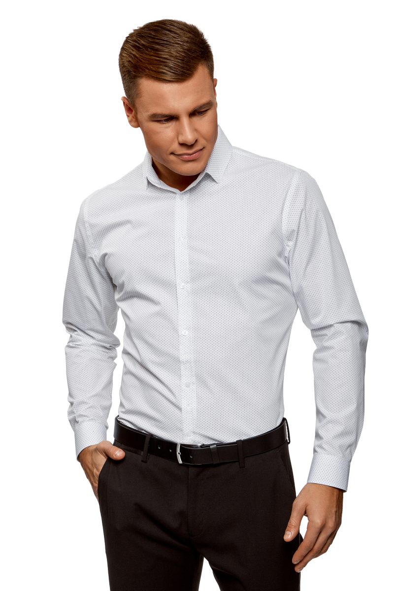 Рубашка мужская oodji Basic, цвет: белый, темно-синий горох. 3B110016M/19370N/1279D. Размер 39-182 (46-182)3B110016M/19370N/1279DМужская рубашка oodji выполнена из натурального хлопка. Модель с длинными рукавами застегивается на пуговицы.