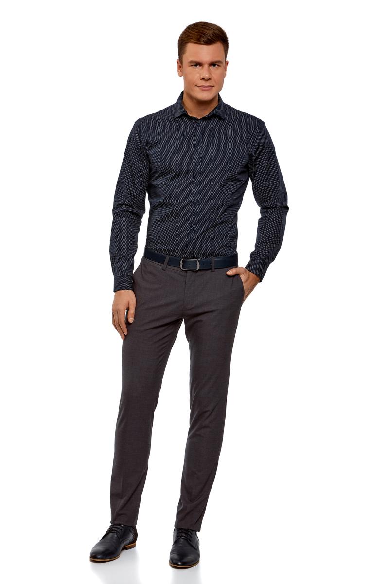 Рубашка мужская oodji, цвет: темно-синий, белый горох. 3B110016M/19370N/7912D. Размер 40-182 (48-182)3B110016M/19370N/7912DМужская рубашка oodji выполнена из натурального хлопка. Модель с длинными рукавами застегивается на пуговицы.