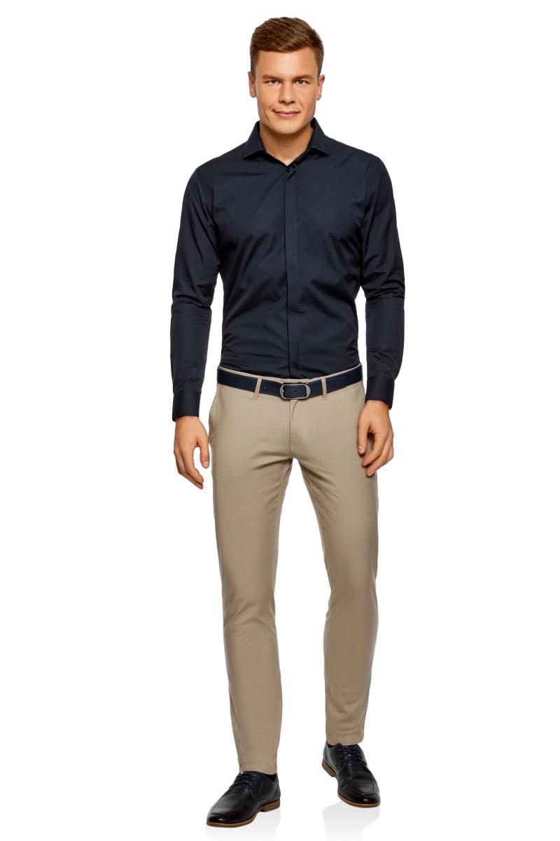 Рубашка мужская oodji Basic, цвет: темно-синий. 3B110017M/47184N/7900N. Размер 40-182 (48-182)3B110017M/47184N/7900NМужская рубашка oodji с длинными рукавами изготовлена из качественной смесовой ткани. Рубашка застегивается на пуговицы в планке, манжеты рукавов дополнены застежками-пуговицами.