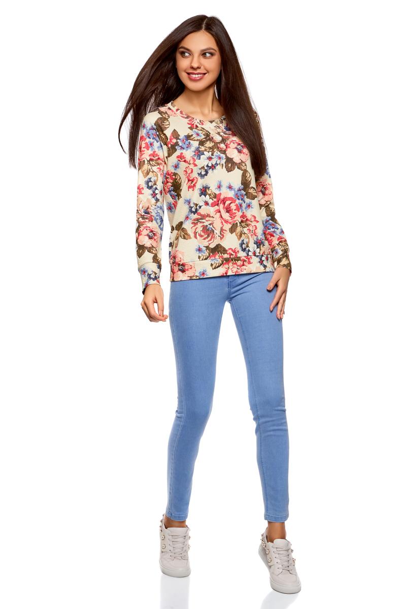 Купить Свитшот женский oodji Ultra, цвет: кремовый, голубой. 14807010-2B/42588/3070F. Размер M (46)