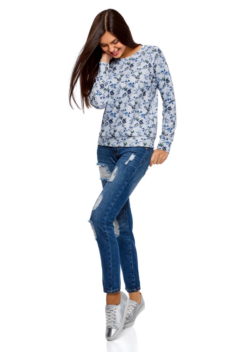 Купить Свитшот женский oodji Ultra, цвет: светло-серый, индиго. 14807010-2B/42588/2078F. Размер M (46)