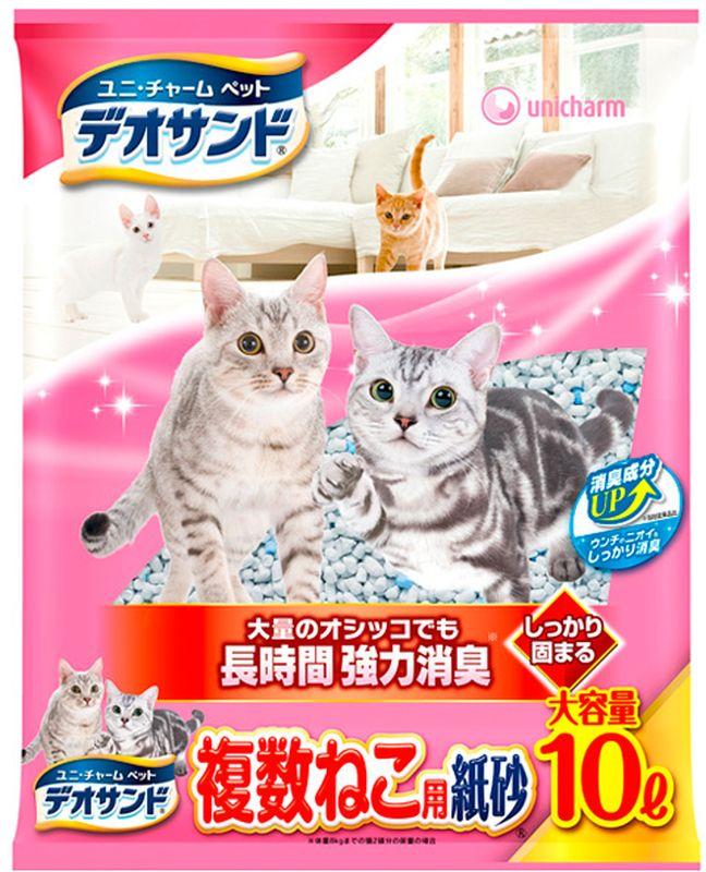 Наполнитель для кошачьего туалета Unicharm  Deo Sand , бумажный, дезодорация, 10 л - Наполнители и туалетные принадлежности