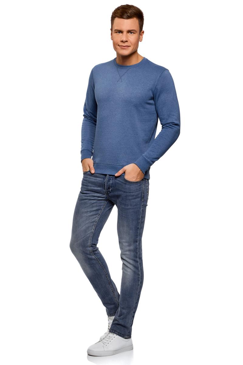 Свитшот мужской oodji Basic, цвет: голубой меланж. 5B113001M-1/44396N/7400M. Размер L (52/54)5B113001M-1/44396N/7400MМужской свитшот от oodji выполнен из хлопкового трикотажа. Модель с круглым вырезом горловины и длинными рукавами.