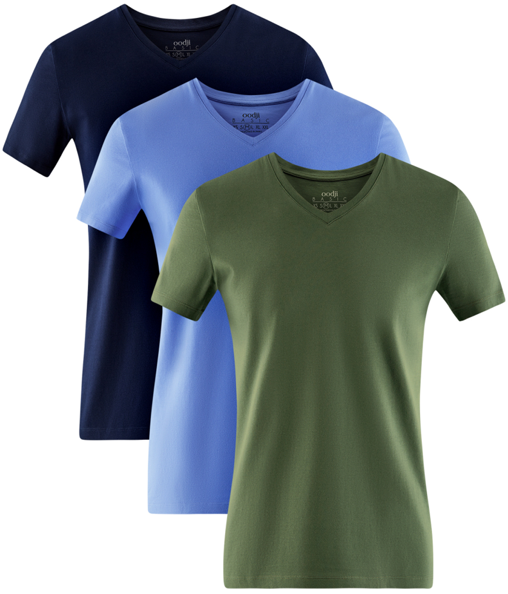Футболка мужская oodji Basic, цвет: темно-синий, голубой, зеленый, 3 шт. 5B612002T3/46737N/1900N. Размер XL (56)5B612002T3/46737N/1900NМужская базовая футболка от oodji выполнена из эластичного хлопкового трикотажа. Модель с короткими рукавами и V-образным вырезом горловины. В комплект входит три футболки.