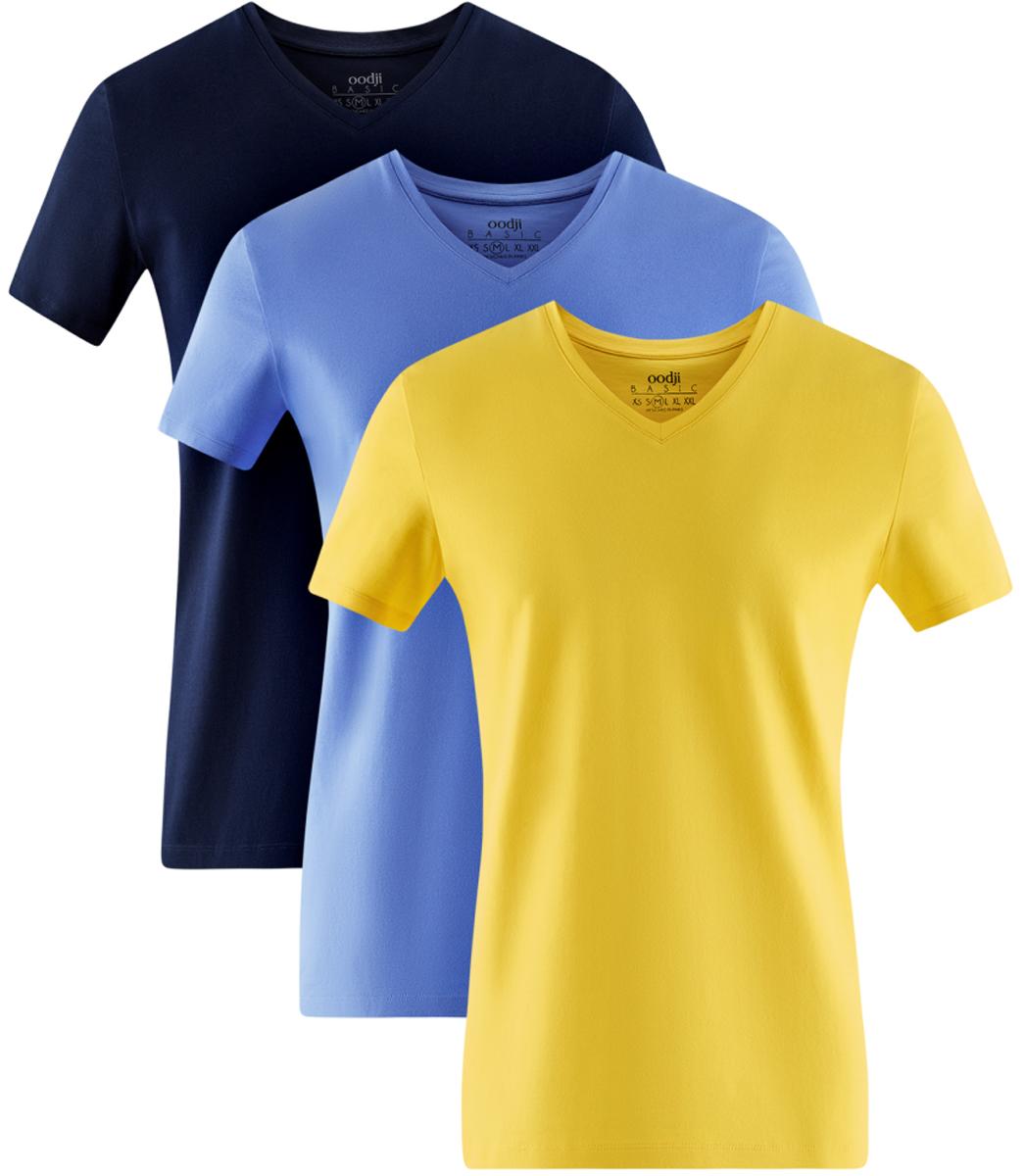 Футболка мужская oodji Basic, цвет: темно-синий, голубой, желтый, 3 шт. 5B612002T3/46737N/1901N. Размер S (46/48)5B612002T3/46737N/1901NМужская базовая футболка от oodji выполнена из эластичного хлопкового трикотажа. Модель с короткими рукавами и V-образным вырезом горловины. В комплект входит три футболки.