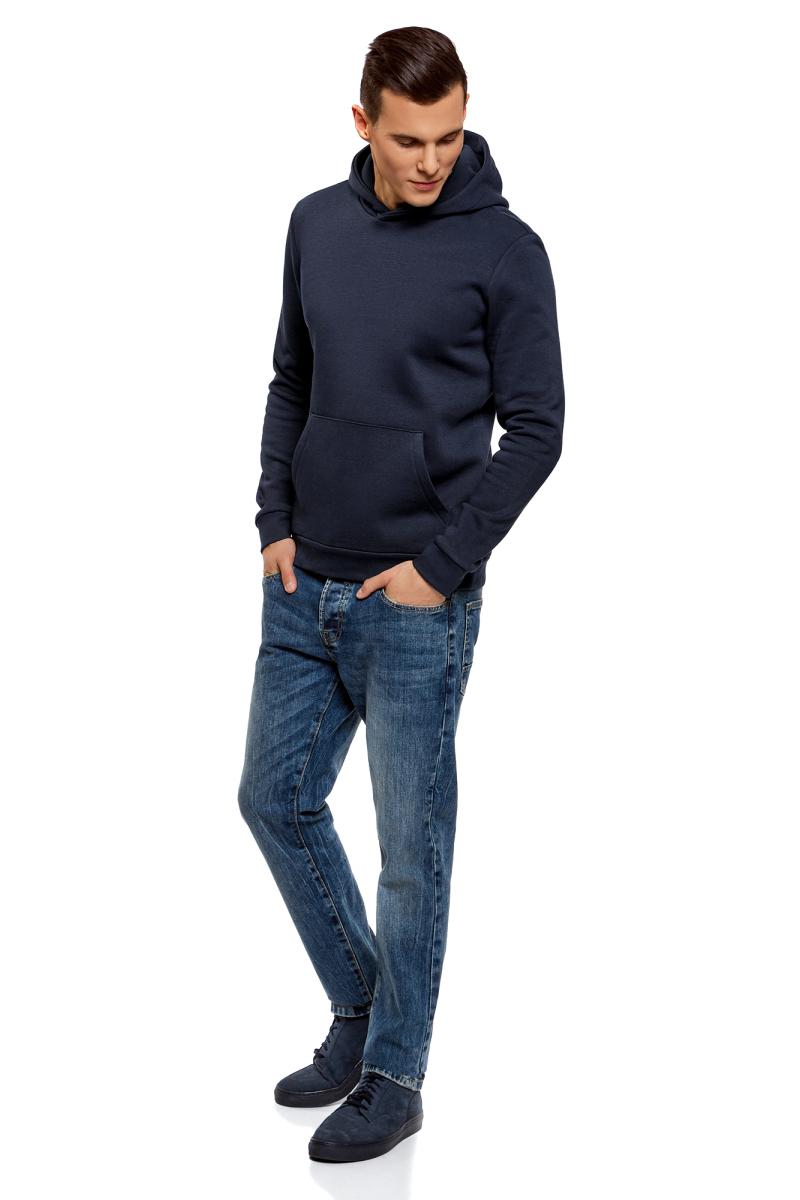 Толстовка мужская oodji Basic, цвет: темно-синий. 5B111003M/44119N/7900N. Размер XS (44)5B111003M/44119N/7900NТолстовка от oodji выполнена из хлопкового трикотажа. Модель с длинными рукавами и капюшоном спереди дополнена карманом кенгуру. Манжеты рукавов и низ изделия дополнены трикотажными резинками.
