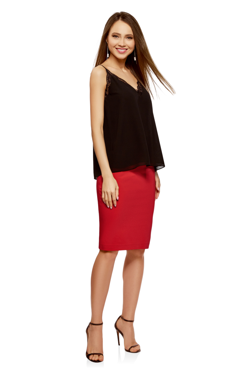 Юбка oodji Collection, цвет: красный. 21601295B/35589/4500N. Размер 46-170 (52-170) платье oodji collection цвет черный белый 24001104 1 35477 1079s размер l 48
