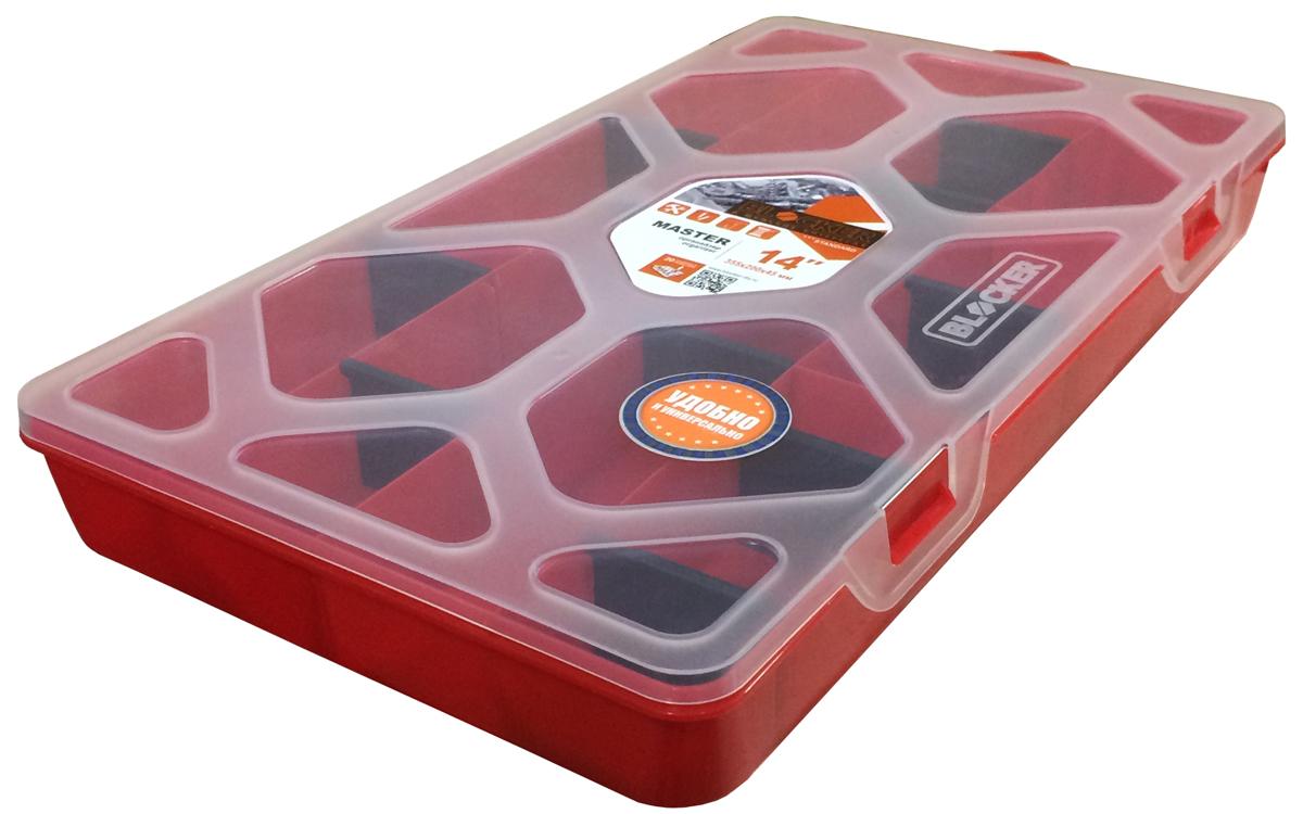 Органайзер для хранения Blocker Master, цвет: красный, 35,5 х 20 х 4,5 смBR3782КРОрганайзер Master 14 – оптимальное решение для хранения мелочей необходимых при ремонте дома и на даче, автомобильном и профессиональном ремонте. Благодаря двадцати съемным перегородкам, можно регулировать количество и размер ячеек. Прозрачная крышка позволяет увидеть содержимое, не открывая коробку.