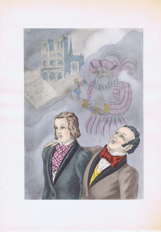 Фантазии.  Офсетная литография, пошуар.  Франция, Париж, 1948 год Умберто Брунеллески