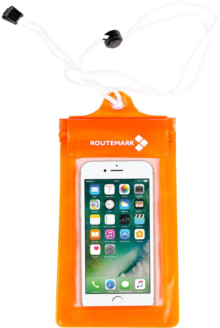 Гермомешок Routemark, цвет: оранжевый, 280 х 11 см6468Водонепроницаемый чехол для телефона Routemark поможет сделать снимки под водой на смартфон. Выполнен из ПВХ. Он закрывается на три водонепроницаемых клапана, спрятанных под липучкой, что максимально защищает ваш смартфон от возможного попадания влаги.В комплект также входит шнурок на шею.Водонепроницаемый чехол отлично подойдёт на iPhone 5 и аналогичные по размеру модели смартфонов.