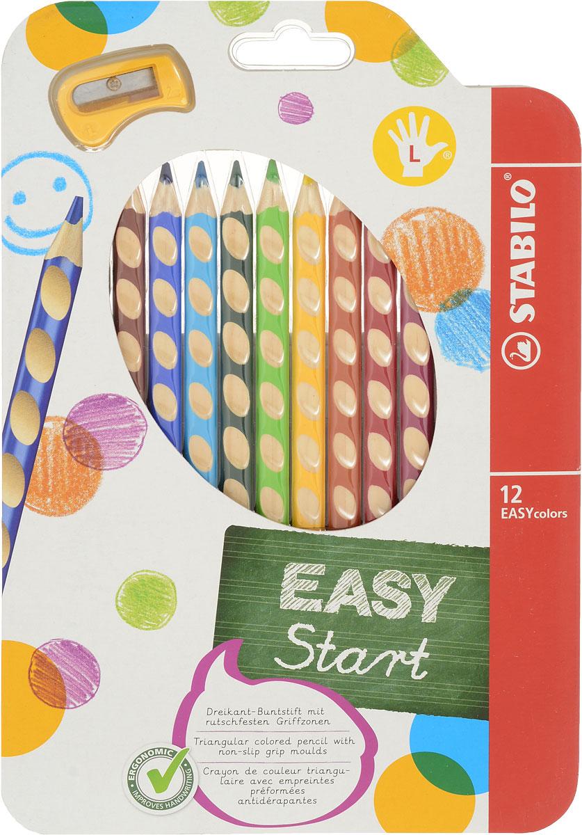 Набор цветных карандашей Stabilo Easycolors для левшей, 12 цветов331/12Преимущества карандашей STABILO EASYcolors. Специальные углубления на корпусе карандаша подсказывают ребенку как располагать большой и указательный пальцы, прививая первоначальный навык правильно держать пишущий инструмент. Расположение углубление по всей длине корпуса обеспечивает правильное удержание карандаша ребенком при письме и рисовании даже после заточки карандаша. С течением времени навык автоматически закрепляется в памяти ребенка, позволяя ему быстрее и легче адаптироваться к процессу обучения письму, освоить правильную технику письма и сделать письмо красивым и быстрым. Создают максимальный комфорт для ребенка - трехгранная форма карандаша соответствует естественному захвату руки, уменьшая мышечные усилия, необходимые для его удержания, - ребенок может рисовать длительное время без ощущения усталости. Утолщенная форма корпуса облегчает удержание карандашей детьми с недостаточно развитой мелкой моторикой руки. Карандаши разработаны с учетом особенностей строения руки ребенка и имеют две версии: для правшей и для левшей, обеспечивая им одинаково комфортное письмо. Рекомендуются в начале обучения рисованию и письму. Мягкий грифель легко рисует на бумаге, не царапая ее и не крошась, и оставляет яркий след без каких-либо усилийУтолщенный грифель диаметром 4,5 мм не нуждается в постоянном затачивании, так как имеет повышенную стойкость к поломкам. 12 ярких насыщенных цветов, карандаши можно подписать.Карандаши являются обладателями Европейского сертификата качества (маркировка на корпусе СЕ), что подтверждает их высочайшее качество и безопасность для здоровья. Характеристики: Длина карандаша:18 см. Размер упаковки:16 см х 24 см х 1,5 см. Изготовитель:Европейский Союз. Уважаемые клиенты!Обращаем ваше внимание на возможные изменения в дизайне упаковки. Поставка осуществляется в зависимости от наличия на складе.