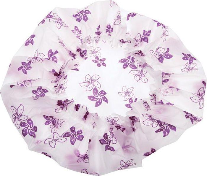 Dewal Beauty Шапочка для душа, цвет: белый, фиолетовый