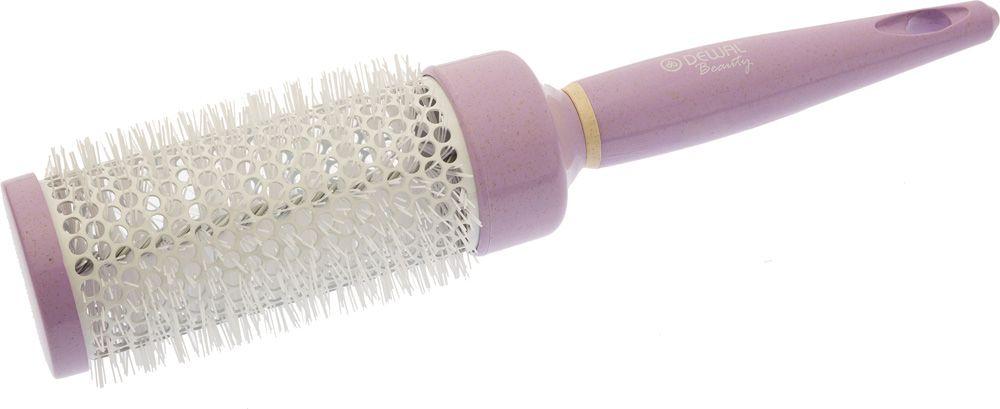 Dewal Beauty Термобрашинг Черничное мороженое, цвет: фиолетовый, диаметр 44 ммDBHM1Термобрашинг Dewal Beauty из серии Черничное мороженое незаменимый аксессуар для укладки волос и моделирования причесок в домашних условиях. Изготовлен из качественного пластика, устойчивого к высоким температурам, поэтому абсолютно исключает деформацию во время работы с горячим феном. Корпус модели не подвергается перегреву, что делает ее безопасной для ваших волос. Термобрашинг имеет оригинальное исполнение – приятный дизайн в стиле бренда Dewal Beauty который всегда привлекает внимание. Небольшой вес термобрашинга и удобная эргономическая ручка позволяет осуществлять процедуру расчесывания легко и комфортно. - цвет: фиолетовый; - диаметр втулки: 44 м; - длина: 23 см.