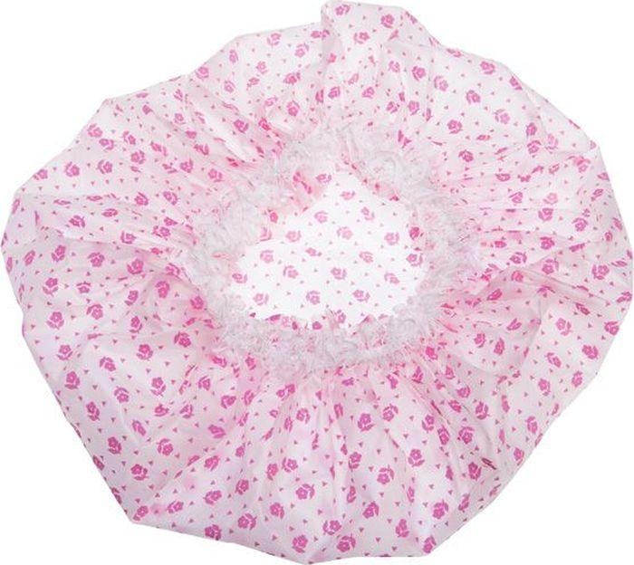 Dewal Beauty Шапочка для душа, цвет: белый, розовый