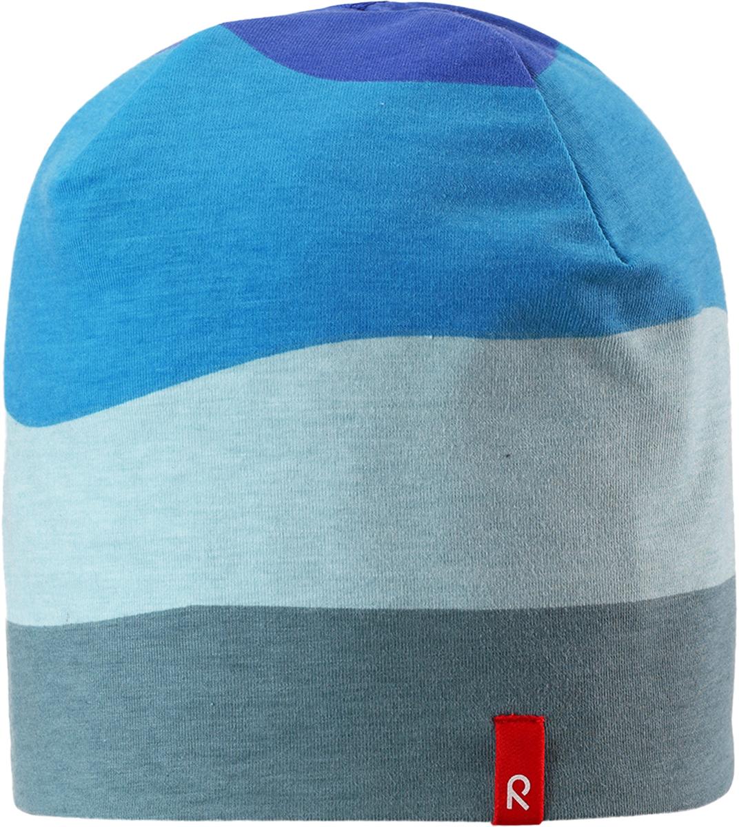 Шапка детская Reima, цвет: голубой. 5285836641. Размер 485285836641Легкая двусторонняя шапка от Reima изготовлена из хлопка с добавлением полиэстера и эластана. Озорная двухсторонняя шапка меняет цвет в одно мгновение!