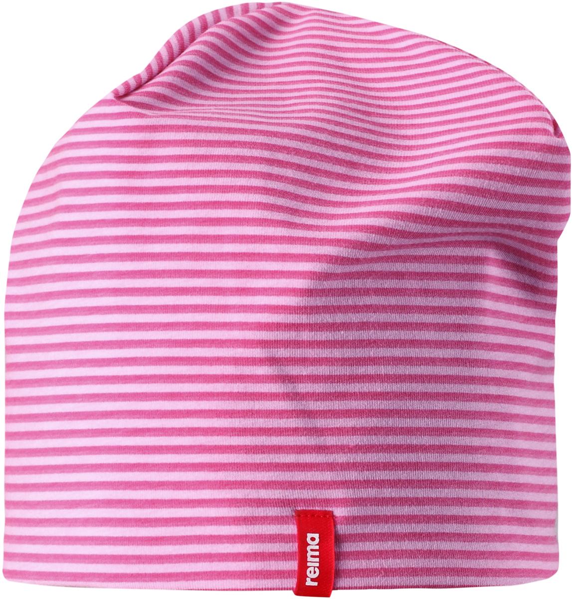 Шапка детская Reima, цвет: розовый. 5285834623. Размер 485285834623Легкая двусторонняя шапка от Reima изготовлена из хлопка с добавлением полиэстера и эластана. Озорная двухсторонняя шапка меняет цвет в одно мгновение!