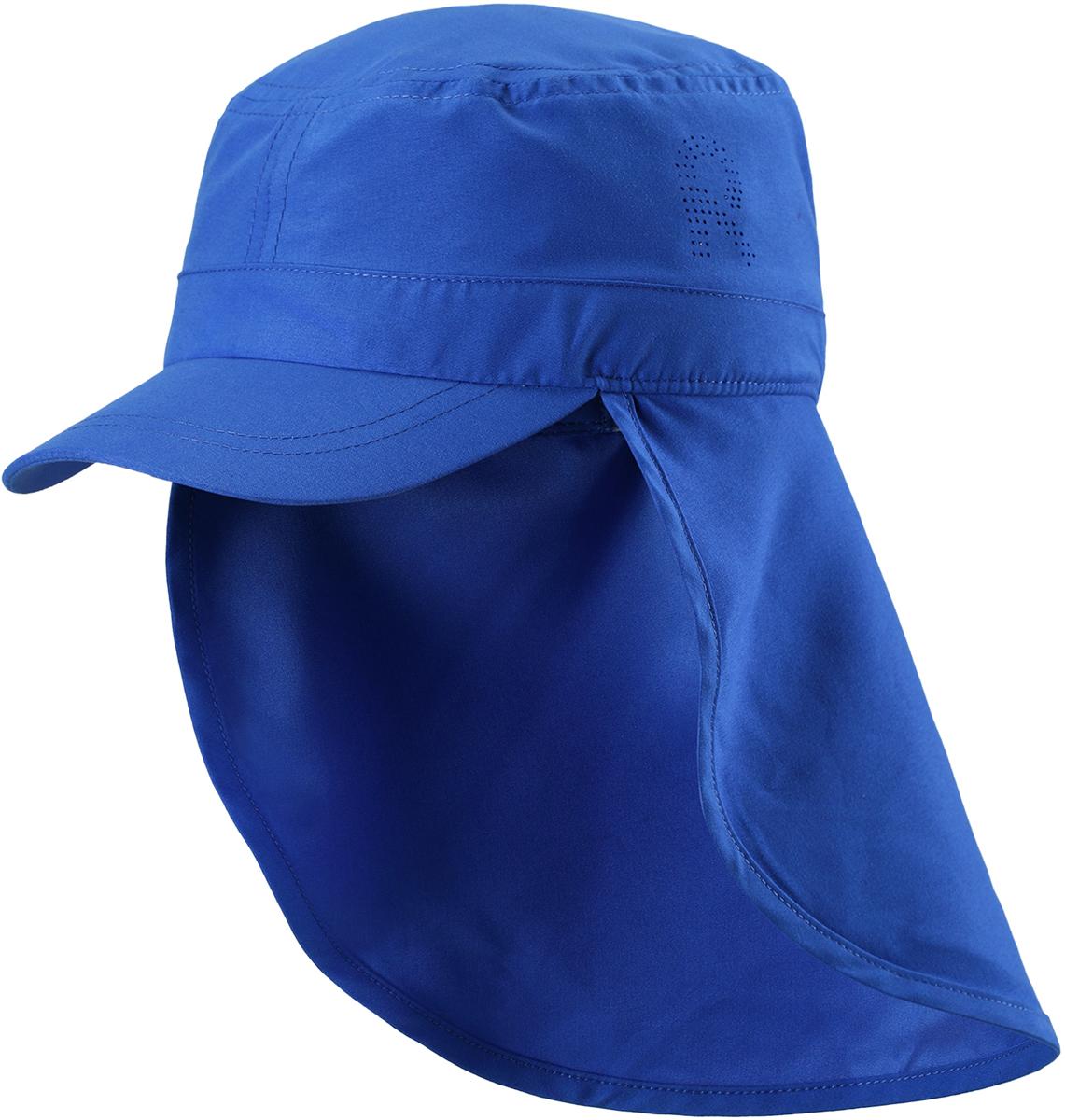 Панама детская Reima, цвет: синий. 5285336640. Размер 485285336640Детская панама от Reima с фактором УФ-защиты 50+. Широкий козырек защищает лицо и глаза, а длинный отворот закрывает шею от вредного ультрафиолета. Панама сшита из дышащего, водо- и грязеотталкивающего материала - 100% полиэстера.В этой удобной панаме ваш ребенок будет радоваться солнышку каждый день.Размер панамы соответствует обхвату головы.