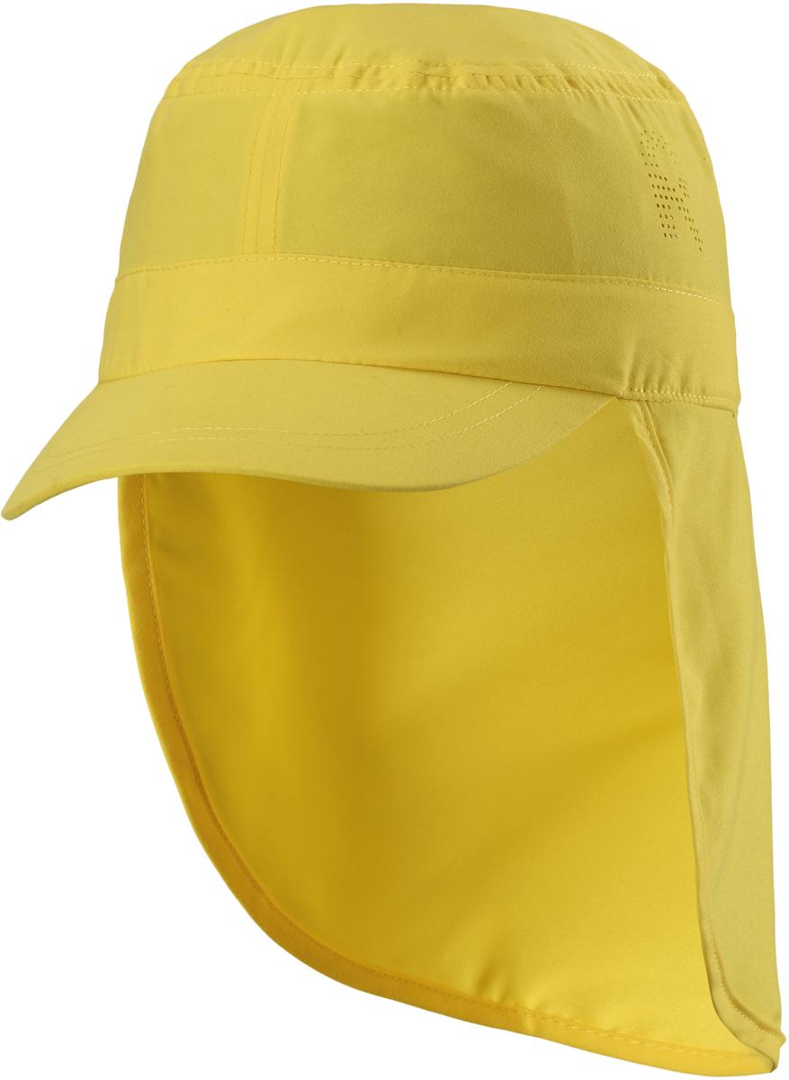 Панама детская Reima, цвет: желтый. 5285332330. Размер 545285332330Детская панама от Reima с фактором УФ-защиты 50+. Широкий козырек защищает лицо и глаза, а длинный отворот закрывает шею от вредного ультрафиолета. Панама сшита из дышащего, водо- и грязеотталкивающего материала - 100% полиэстера.В этой удобной панаме ваш ребенок будет радоваться солнышку каждый день.Размер панамы соответствует обхвату головы.